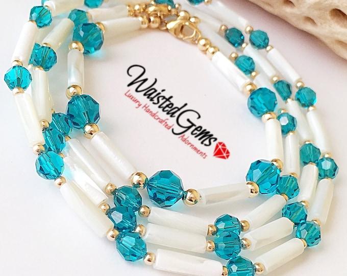 Sea Breeze Waist Beads, 14k Rose Gold Waist Beads, African Waist Beads, Gemstone Waist bead,Crystal Waist Beads,  zmw2311-19