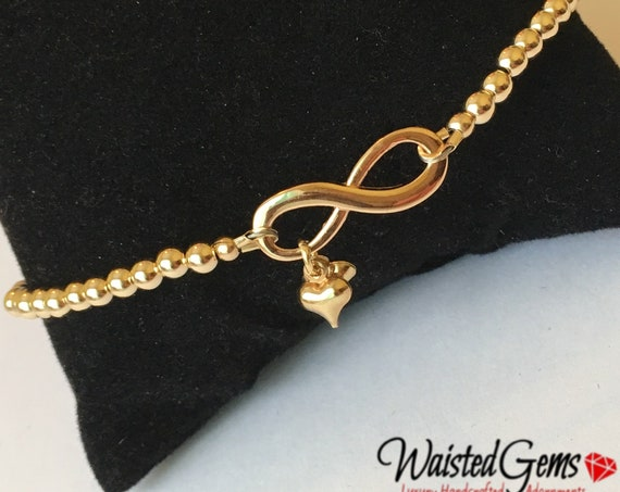 14k Gold Infinity Gold Beaded Bracelet or Anklet, Gold Beaded Bracelet, Gold Anklet, Mothers Day Gifts, Gold Choker, Infinity Bracelet