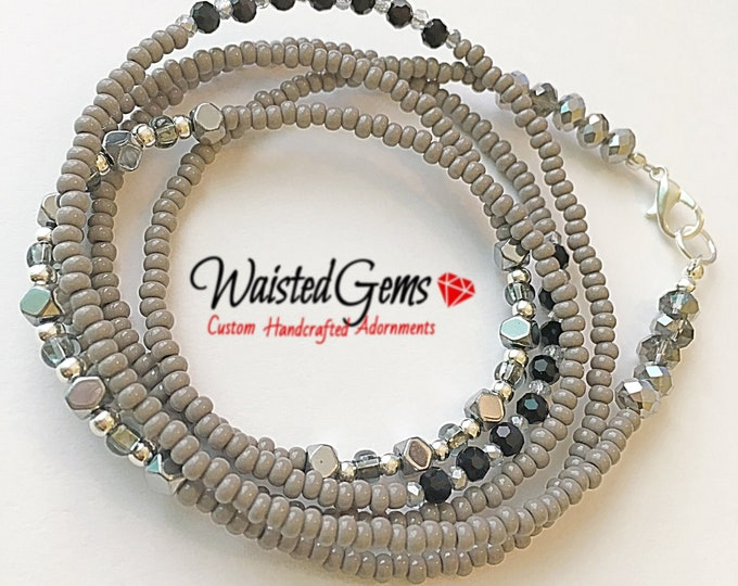 Gray Nights Waist Beads, body beads, belly chain,African waist beads, plus size waist beads, gifts for her zmw43