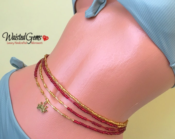 Ruby & Gold Triple Wrap a Round Waist Beads, Waistbeads, Belly Chain, African Waist Beads, Adjustable Waist Beads, Gifts for her