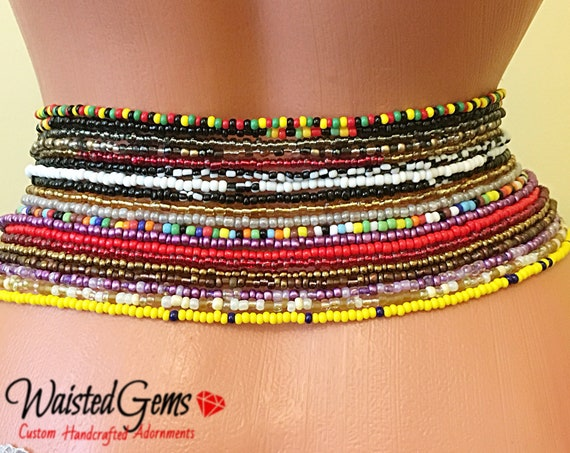 2 Piece Waist Beads Set, Belly Chain, Color Choice Waist Beads. African Waist Beads, Belly Chain,Bikini Chain,Summer Jewelry, Bikini Jewelry