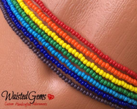 Chakra 7 Strand Set Simple Strand Waist Beads, body beads, belly chain, african waist beads, bikini, zmw9977