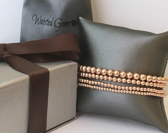 14K Gold Filled Beaded Bracelet, Stacking Bracelets, Rose Gold Beaded Bracelet, Silver Beaded Bracelet, Bracelet Set, Gold Beaded Bracelet