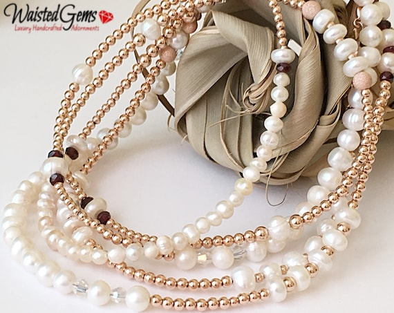Diamonds and Pearls 14k Rose Gold Waist Beads, African Waist Beads, Pearl and Gold Waist bead,Bride Waist Beads, gift for her  zmw2311-33