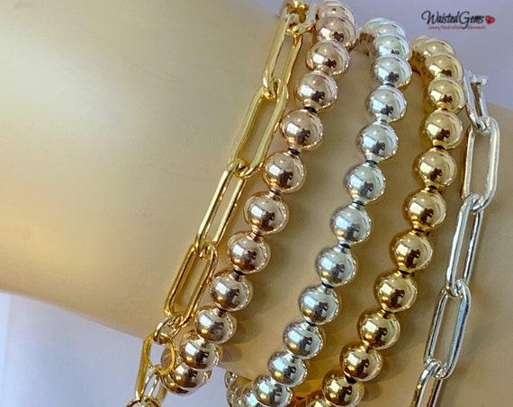 14k Solid Gold Beaded Bracelet, Stacking Bracelets, Stretch Bracelet, Jewelry,White Gold Beaded Bracelet, Boho Jewelry, Gold Beaded Bracelet