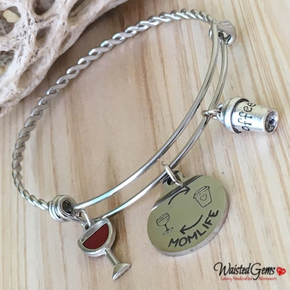 Mom Life Twisted Adjustable Bangle, Charm Bracelet, Mothers Day Gifts, Grandmother Gifts, Wine Lovers, Coffee Lover  zmw3341.9