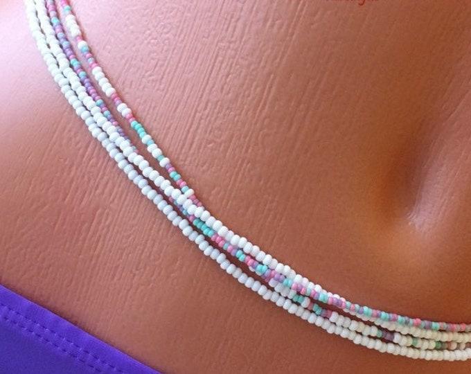 White Quadruple Strand Waist Bead Set, WaistBeads, Body Chain, Belly Chain, White Waist Beads, Boho Jewelry, Body Jewelry zmw3903