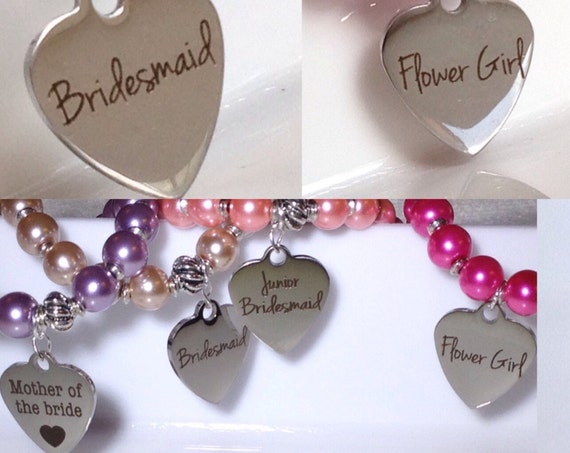 Choice of /  Add-on Custom Bridal Party Charm Add-On Initial Charm Necklace, Charm Bracelet,Waistbead Charms  zmw1988