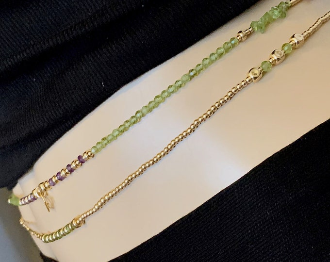 14k Peridot Waist Beads Waistbeads, Leo Birthday Waistbeads, belly chain, Birthday Gift Ideas, Body Jewelry, Christmas Gift,