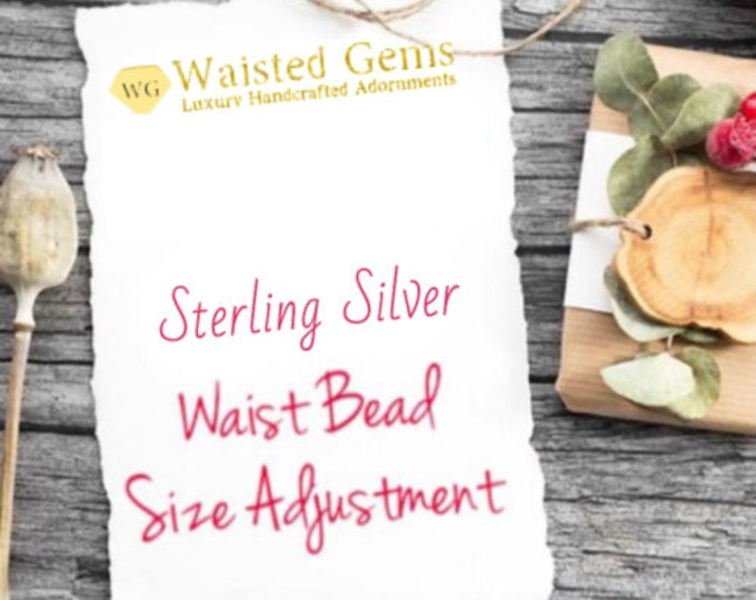 Sterling Silver Waist Beads Size Adjustment, belly chain, Summer jewelry, Summer party