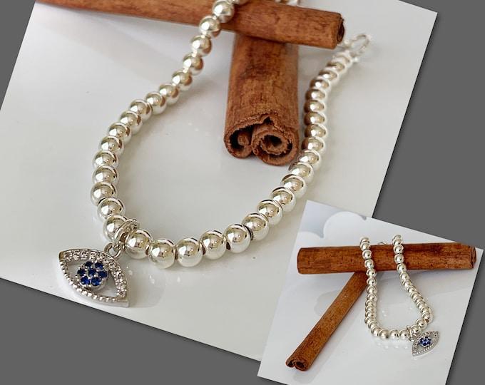 Sterling Silver Evil Eye Beaded Bracelet with Clasp, Ball Bracelet, Charm Bracelet, 925 Bracelet, Personalized Bracelet, Yoga Bracelet