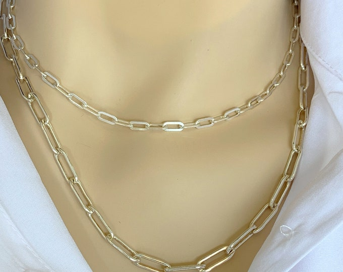 Large Sterling Silver Box Chain Necklace, Anchor Chain, Layering Chain, Milano link Chain, Link Chain, Sterling Silver Chain, Thick Chain