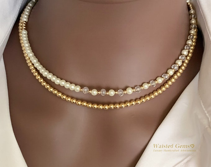 14k Beaded Necklace, Gold Beaded Ball Necklace, Gifts for her, Pearl Necklace, Mothers Day Gift,