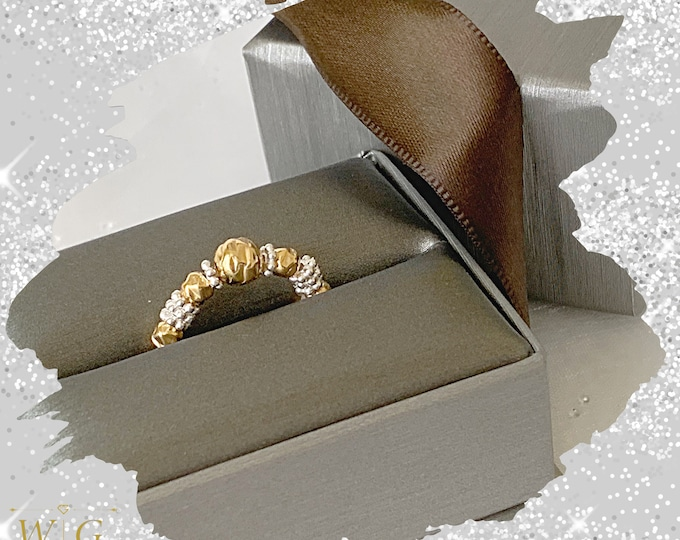 18k Gold Hammered Rings, 18k Beaded Rings, Stackable Rings, Band Ring, Statement Rings, 18k Stretch Rings