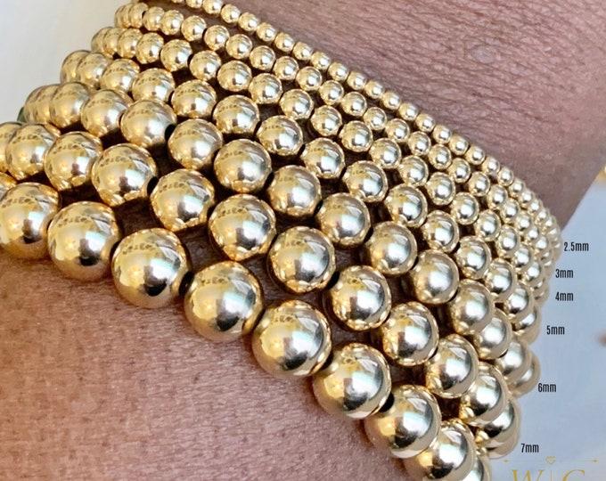 14k 7 pc Bracelet Set, Stacking Bracelets, Rose Gold Beaded Bracelet, 14k Bracelet,Gold Beaded Jewelry, 8mm Bracelet, 7mm