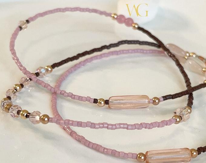 Sweets Waist beads, African Waist Beads, Belly Chain, Rose Gold Waist Beads with Clasp, Pink Waist Beads, Brown Waist Beads, Plus Size