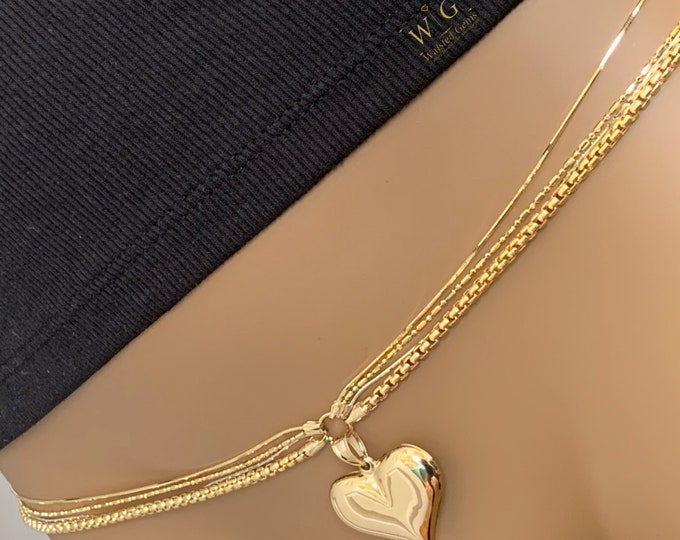 Queen Custom 14k Quadruple Strand Waist Chain, Wedding Gift, 14k Rose, 14k White Gold Waist Chain, 14k Gold Waist Chain with Charm,