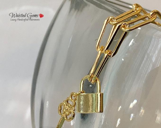14k Large Box Chain Padlock Key Charm Bracelets, Anchor Chain,Milano link Chain, Large Link Chain, Padlock Charm Bracelet, Paper Clip Chain