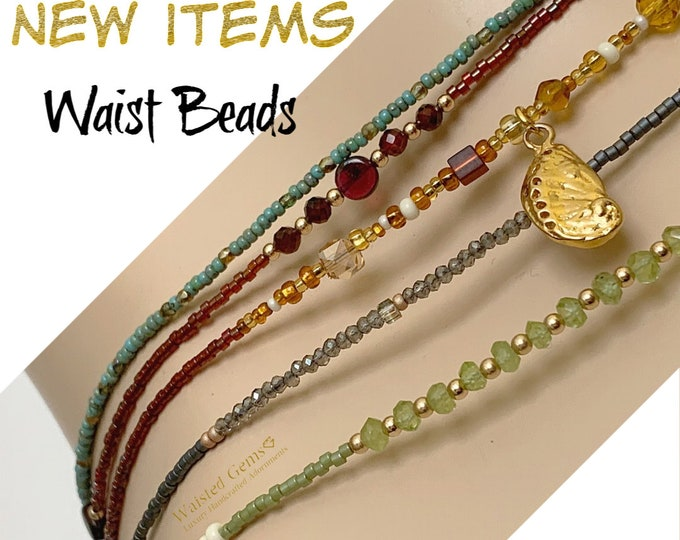 Picasso Waist Beads, African Waist Beads, Green Waist bead, Waist Beads With Clasp, 14k Waist Beads, Gold Waist Beads,