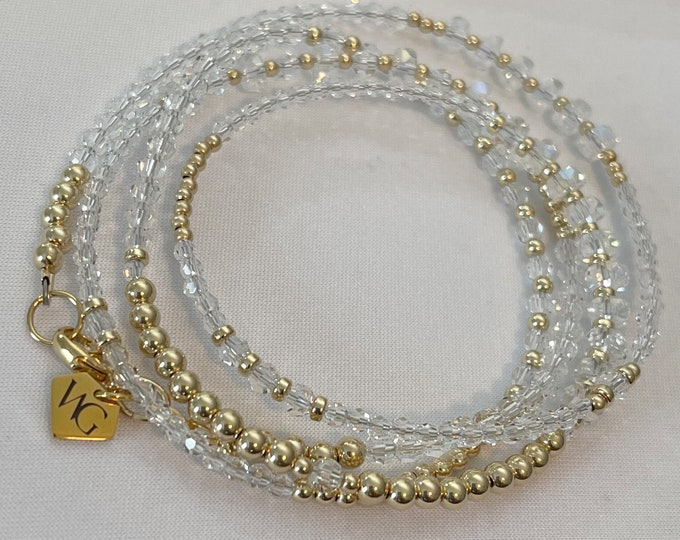 Crystal and 14k Gold Crystal Waist Beads / Wedding Gift / African Waist Beads / 14k Belly Chain / Gifts for Her / Plus Size