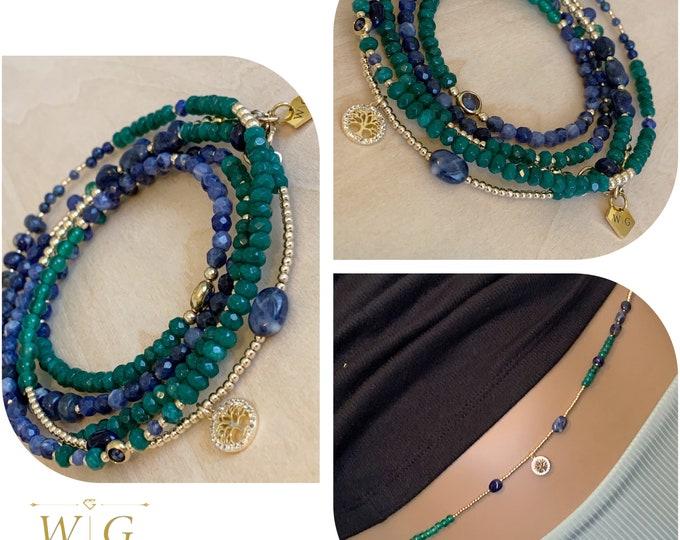 Royal 14k Gold and Gemstone Waist Beads, African Waist Beads, Gift for her, Gemstone Waist Bead,Blue Waist Beads, Crystal Waist Beads