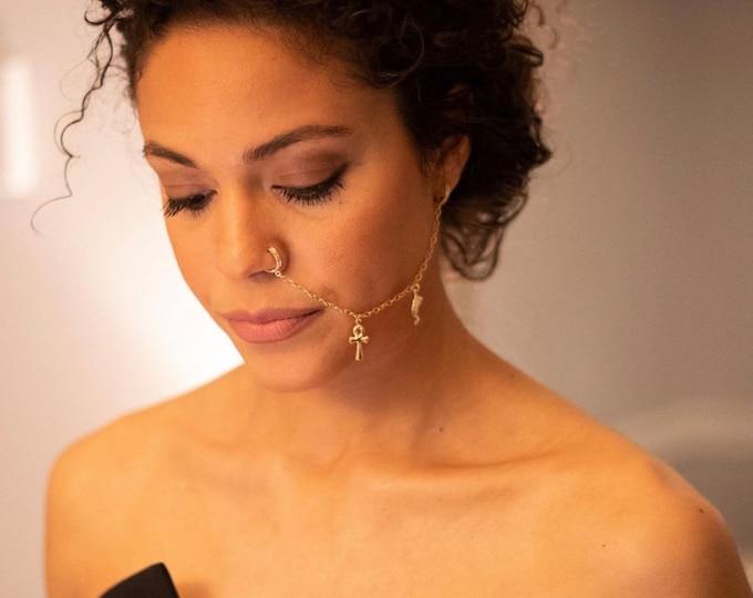 14K Gold 10mm Diamond Huggie Earring Pair with Attached Chain, Diamond Huggie, Earring Charm Nose Ring Chain, Nose Ring Chain, Gift for her