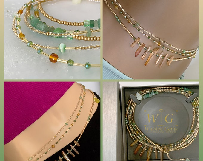 Let's Play ~ Triple Strand Strand Waist Beads,Green Waist Beads, Waist Beads with Clasp, Plus Size Waist Beads, African Waist Beads, Crystal