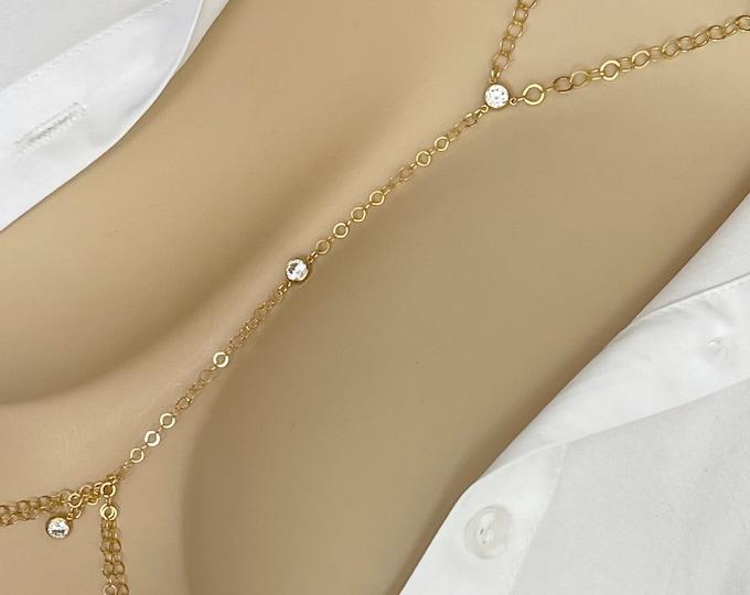 14k White Topaz Body Chain, Body Jewelry,Bikini Body Chain,Bikini Jewelry,Body Necklace,Layering Body Chain, Back Chain, Custom Bodychain