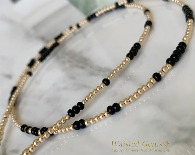 14k Gold and Black Waist Beads, Belly Chain, Waistbeads w/ clasp, African Waist Beads,Gold Waist Beads,Boho Waist Beads, White Waist Beads