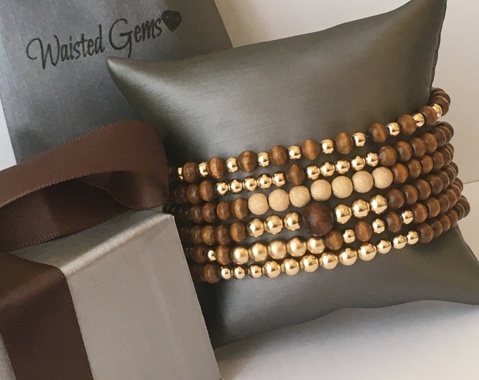 14k Gold and Tibetan Agate and Wood Bracelets, Beaded Bracelet Set, Stretch Bracelet, Jewelry, Tibetan Agate Bracelet, 14k Gold Bracelet Set