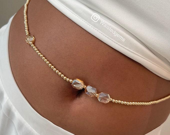 14k Gold Crystal Waist Beads | Gold Waist Chain | African Waist Beads | Luxury Beads | Waist Chain With Charms |