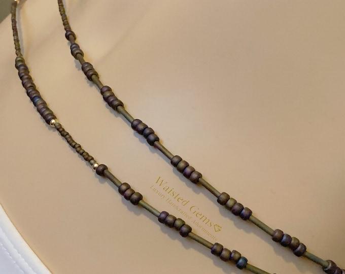 Gold Iris Double Strand Waist Bead Set, Waist Beads, WaistBeads, Belly Chain, African Waist Beads, Plus Size Waist Beads,