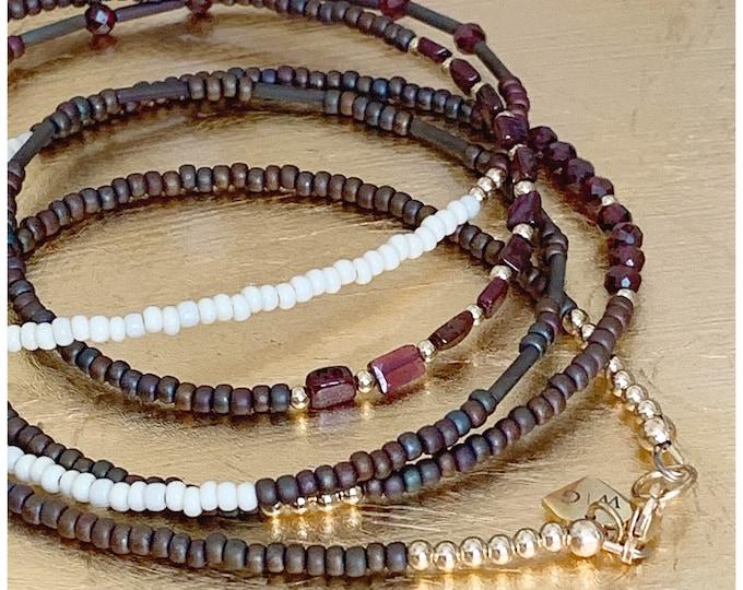Garnet Gemstone 14k Gold Waistbeads , Crystal Waistbeads, African Waist Beads, 14k Gold, plus size, Gemstone Waist Beads, Christmas Gift