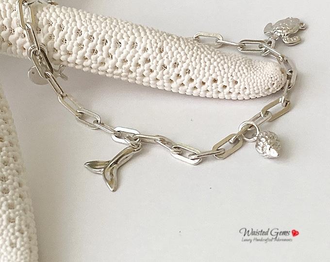 Sterling Silver Sea Side Charm Bracelet,Silver Charm Bracelet, 925, Silver Bracelet with Charms, Chain Anklet, Silver Chain Bracelet