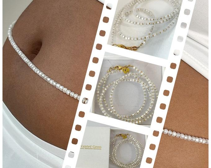Spiritual White and 14k Gold Waistbeads , Crystal Waistbeads, African Waist Beads, 14k Gold, plus size, White Waist Beads,