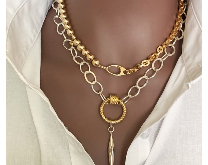 Mama's Mixed Babe, Rounded Rectangle Link Cable Chain, Square Chain, 6mm Beaded Necklace, Statement Necklace, Large Gold Choker, Layering