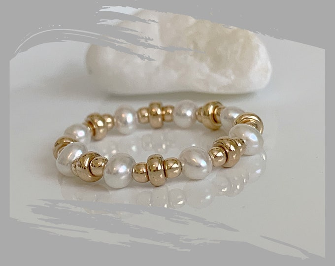 14k and Freshwater Pearls Beaded Ring, Pearl Ring, 14k Beaded Ring, Stackable Ring, Band Ring, Statement Ring, 14k Stretch Rings
