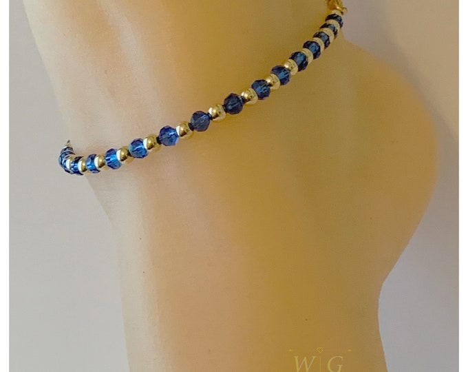 14k Gold and Crystal Anklet, Gold Filled Anklet, Crystal Anklet, Gold Filled Barefoot Sandal, Ankle Chain