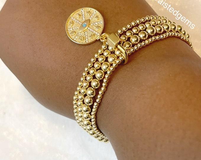 14K Beaded Bracelet Set | Bracelets with Carabiner Lock | 14k Beaded Ball Bracelet | Gold Filled Beaded Bracelet | Evil Eye Charm