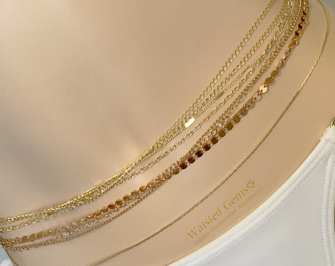 14k Solid Gold Champagne Bubbles Quadruple Strand Waist Chain, Wedding Gift,14k  Gold Waist Chain, Gifts For Her, Back Chain, 14k Rose Gold