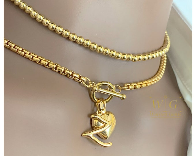 14k Solid Gold 3.7mm Rounded Venetian Reverse Box Chain Necklace with Toggle Clasp, Layering Chain, Gold Necklace with Toggle Clasp
