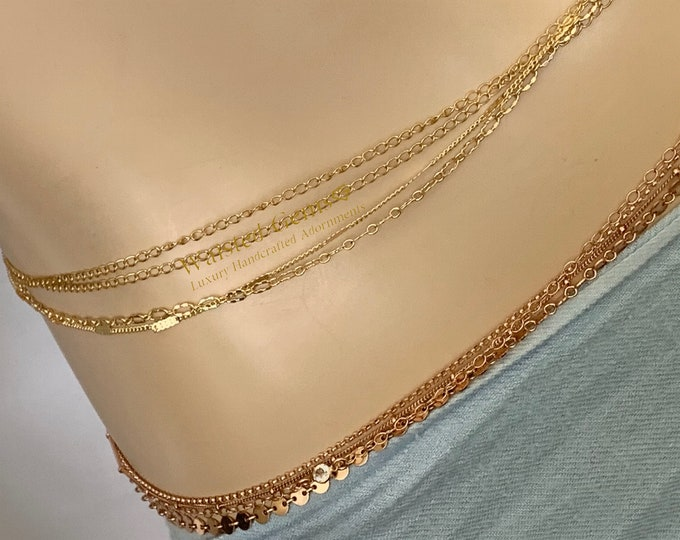 14k Solid Gold Quadruple Strand Waist Chain, Wedding Gift,14k  Gold Waist Chain, Gifts For Her, Back Chain, 14k Rose Gold