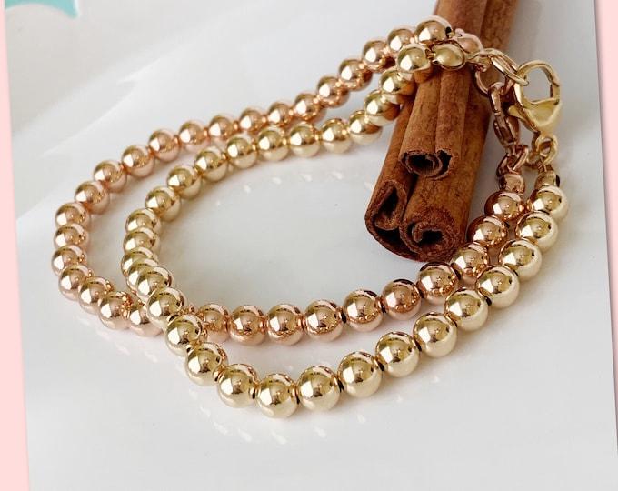 14K beaded bracelet with clasp, Ball Bracelet, Stacking Bracelets, Beaded Bracelet with Lobster Claw Clasp, Rose Gold Bracelet