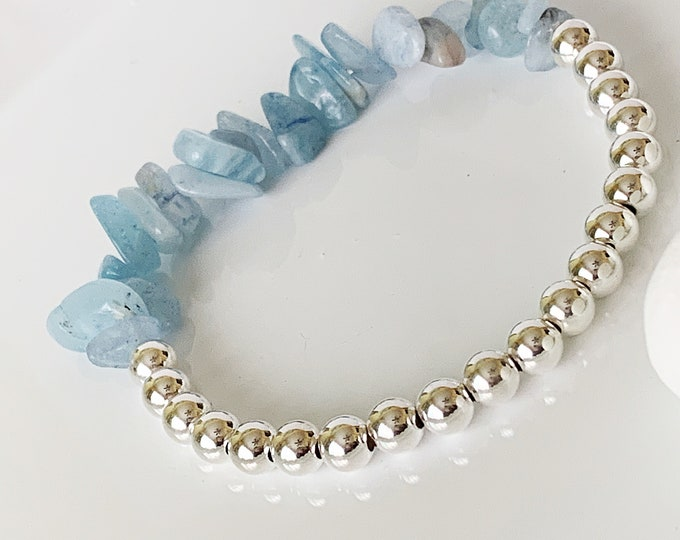 Birthday Bracelet, Aquamarine Stretch Bracelet, Crystal Bracelet, Sterling Silver Beaded Bracelet, Gifts for her,