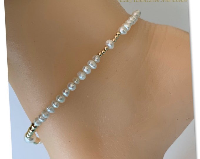 14k Gold and Pearl Anklet, Pearl Barefoot Sandal, Gold Anklet, Pearl Anklet, Gold Chain Anklet