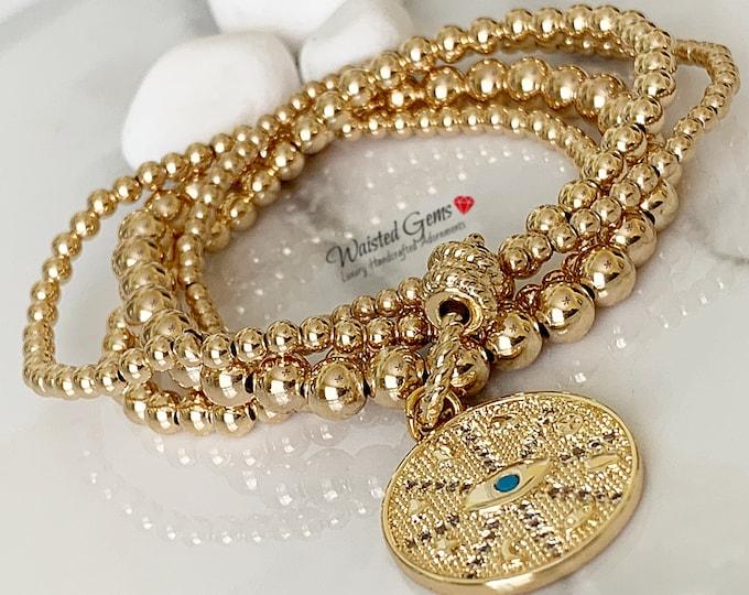 14K Beaded Bracelet Set,Stacking Bracelets with Carabiner Lock,Charm Beaded Bracelet,Gold Beaded Bracelet, Gifts for her,Evil Eye Charm