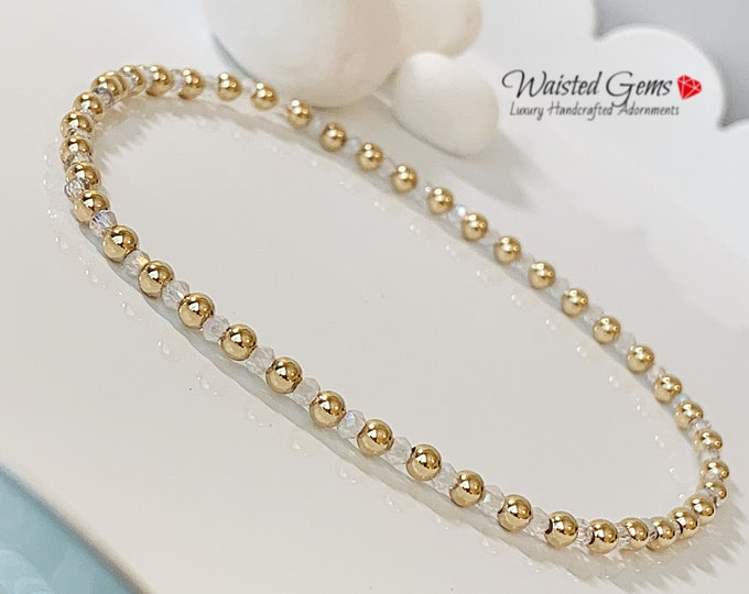 14k Gold and Crystal Bracelet, Dainty Gold Bracelets, Crystal Bracelet, Gifts for her, Wedding Jewelry, minimal gold bracelet