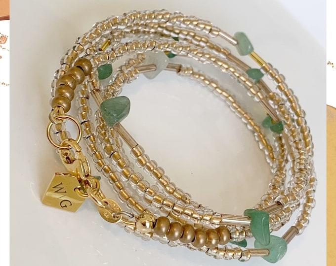 Prosperity ~  Waist Beads, Crystal Waist Beads, African Waist Beads, Green Waist Beads, Plus Size Waist Beads,Gold Waist Beads, Belly Chain