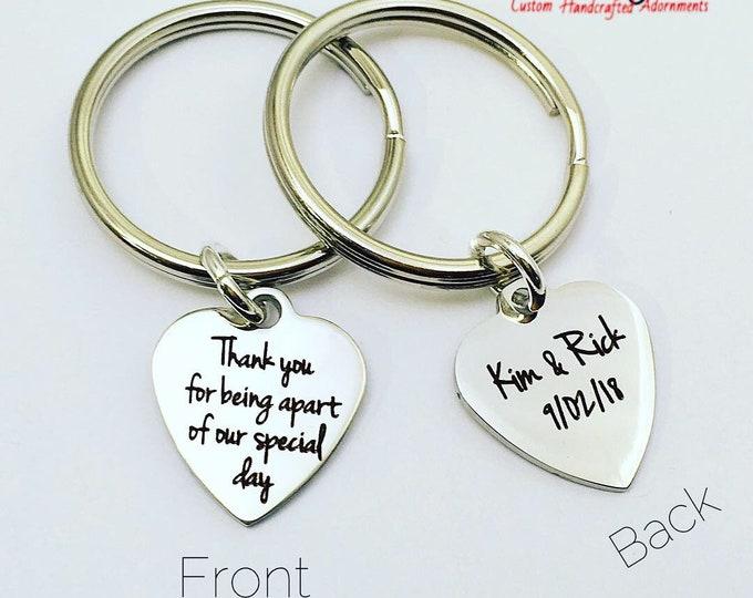 Custom Bridal Two-Sided Charm Keychain, Thank You Gift, Bridesmaids, Wedding Party, zmw33472