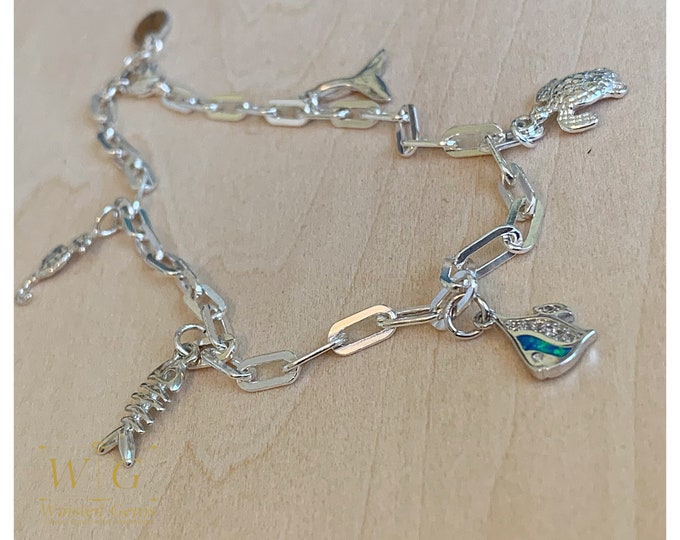 Sterling Silver Sea Side Charm Anklet,Silver Charm Bracelet, 925, Silver Anklet with Charms, Chain Anklet, Silver Chain Bracelet